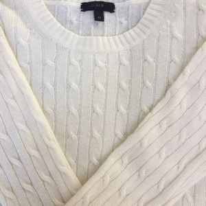 J. Crew cream wool cable knit sweater.